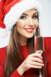 Christmas Santa woman isolated portrait. Royalty Free Stock Images