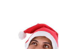 Christmas Santa Woman looking up Royalty Free Stock Photos