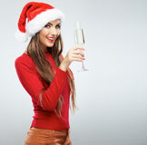 Christmas Santa woman  portrait. Royalty Free Stock Image
