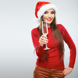 Christmas Santa woman  portrait. Stock Photos
