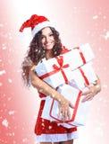 Christmas Santa woman portrait hold christmas Stock Photo
