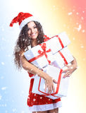 Christmas Santa woman portrait hold christmas Stock Photography