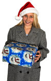 Christmas Santa Woman Present Isolated Royalty Free Stock Image