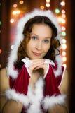 Christmas santa woman surprised Stock Photos