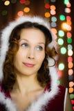 Christmas santa woman surprised Stock Photo