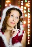 Christmas santa woman surprised Stock Image