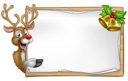 Christmas Santas Reindeer Cartoon Sign Royalty Free Stock Images