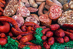 Christmas with sausages Royalty Free Stock Photography