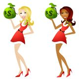 Christmas Savings and Deals 2. An illustration featuring your choice of caucasian or african american woman dressed in little red dresses with holly leaves and Stock Image
