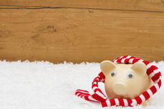 Christmas Savings,  Piggy Bank with scarf on snow with copy-spac Royalty Free Stock Images