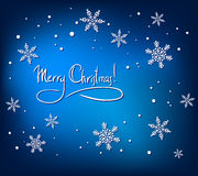 Christmas sbstract card with white snowflakes. On blue background. Simple vector design royalty free illustration