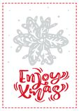 Christmas scandinavian greeting card with enjoy xmas calligraphy lettering text. Hand drawn vector illustration of stock illustration
