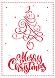 Christmas scandinavian greeting card with merry Christmas calligraphy lettering text. Hand drawn vector illustration of royalty free illustration