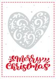 Christmas scandinavian greeting card with vector heart. merry Christmas calligraphy lettering text. Hand drawn vector illustration
