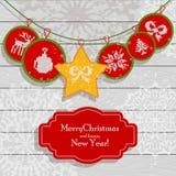 Christmas scandinavian light card red. Christmas card scandinavian style. Flat vector cartoon illustration. Knitted pattern with fair isle ornament on light Stock Photo