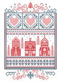 Christmas Scandinavian, Nordic style winter stitching, pattern including snowflake, heart, winter wonderland village, gingerbread. House, church, Christmas tree Royalty Free Stock Photo
