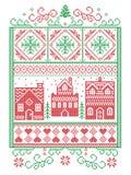 Christmas Scandinavian, Nordic style winter stitching, pattern including snowflake, heart, winter wonderland village, gingerbread vector illustration