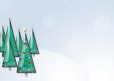 Christmas Scene. An illustration of Christmas trees on a snowy hillside Stock Photos