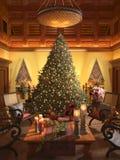 Christmas scene. With elegant interior Royalty Free Stock Photos