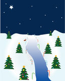Christmas Scene. Nighttime Christmas scene with river and trees Stock Photo