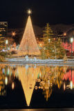 Christmas scene. A scene from temple square in salt lake city at night near christmas Royalty Free Stock Image