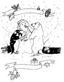 Christmas scene. Hand made illustration of a penguin and a polar bear building a snowman Stock Photography
