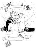 Christmas scene. Hand made illustration of a penguin and a polar bear building a snowman vector illustration
