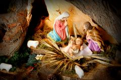 Christmas scene. Manger. Christmas nativity scene stock photos