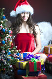 Christmas scene with angel girl Stock Photography