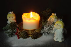 Christmas Scene with Angels Royalty Free Stock Photo