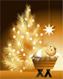 Christmas scene with baby Jesus Royalty Free Stock Image