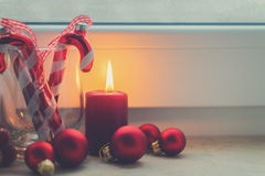 Christmas scene with burning light Stock Images