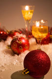 Christmas scene with candles and red balls Stock Images