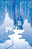 Christmas Scene with Castle Royalty Free Stock Images