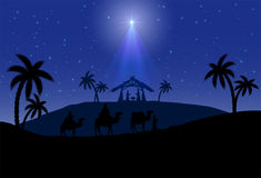 Christmas scene. Christian Christmas scene with the three wise men and shining star, illustration Stock Image