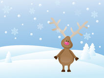 Christmas scene with deer Royalty Free Stock Image