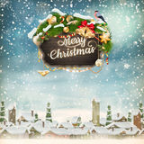 Christmas scene. EPS 10. Christmas scene, snowfall covered little village with trees. EPS 10 vector file Stock Image