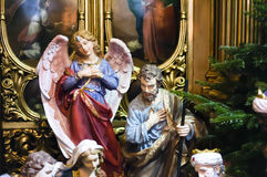 Christmas scene with figures of Mary and Joseph Royalty Free Stock Photography