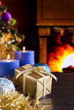 Christmas scene with fireplace and Christmas tree Royalty Free Stock Images