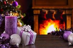 Christmas scene with fireplace and Christmas tree Stock Image