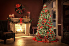 Christmas scene with gifts and fire in background Royalty Free Stock Photography