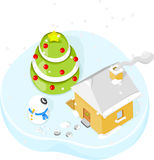 Christmas scene : house with christmas tree and sn Royalty Free Stock Photo