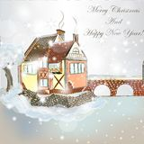 Christmas scene with house in snow. Christmas vector hand drawn card in sketch style with old vintage house Royalty Free Stock Images