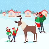 Christmas Scene with Kids. Happy Family on Winter Holidays. Children Feeding Deer. New Year Celebration. Vector illustration Stock Photos