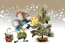 Free Christmas Scene, Mice Decorate The Holiday Tree With Seeds And Fruits Of Plants. Watercolor Illustration, Handmade. Royalty Free Stock Photo - 158913395