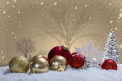 Christmas scene with ornaments and snow Stock Images