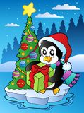 Christmas scene with penguin royalty free illustration