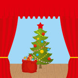 Christmas Scene and red curtain. Holiday scene.  Stock Photo