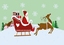 Christmas scene with reindeer and sleigh. Christmas scene with reindeer, sleigh and santa claus Stock Images