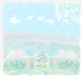 Christmas scene with Santa  and winter landscape. Raster Royalty Free Stock Image